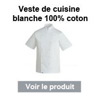 veste cuisine blanche coton